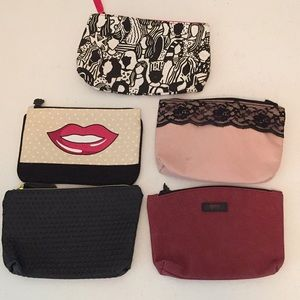Bundle of 5 Ipsy cosmetic zip up bags